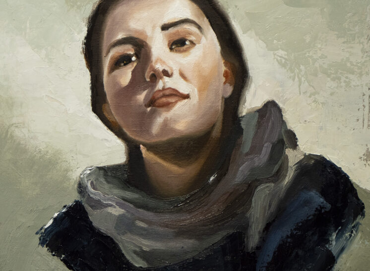 Woman with scarf by andre romijn