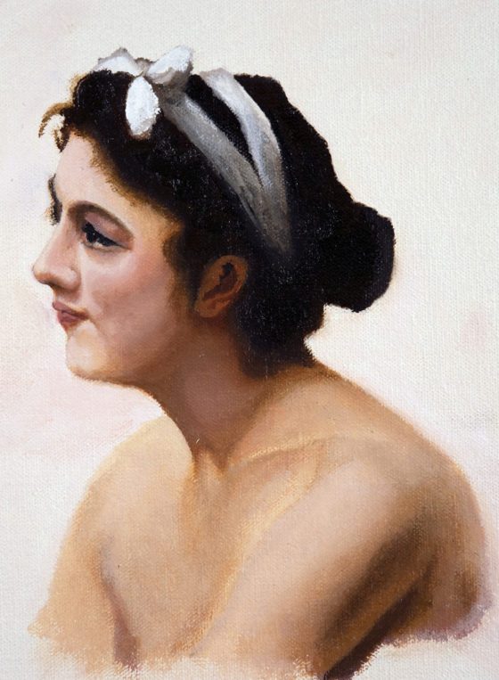 Oil sketch of a female portrait after Bouguereau
