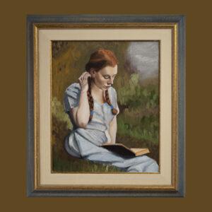 Reading a book by André Romijn Artist portrait painter